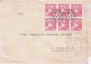 dopis vyplacený výplatním strojem Francotyp