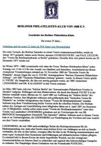 Úvodní strana informace - Berliner Philatelisten-Klub von 1888 E.V.