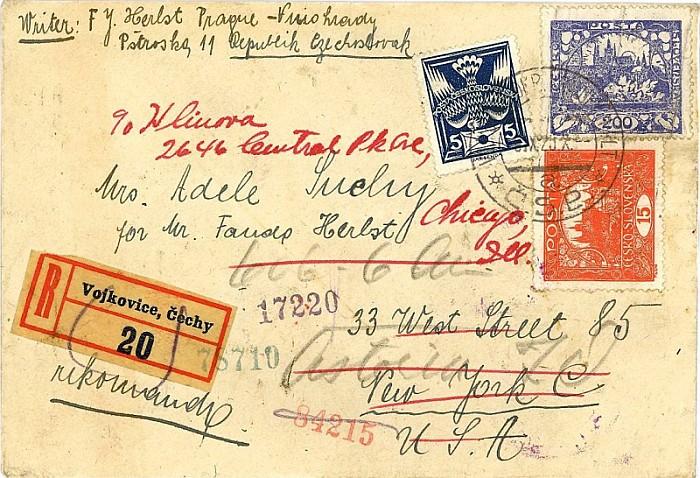 Doporučený dopis ze 6.září 1920 do New Yorku (USA) poslaný z vojkovické pošty