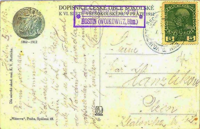 Pohlednice z 5.ledna 1913 (?) do Plzně s razítkem poštovny Hostín a vpú Vojkovice, Čechy
