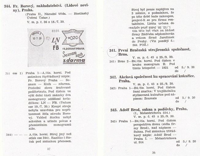 Filatelistická ukázka dvou stránek Studie o otiscích frankotypu (2.díl)