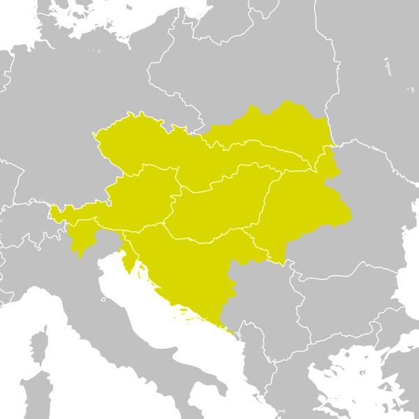 Rakousko-Uhersko (1914) přes poválečnou mapu Evropy (1929)