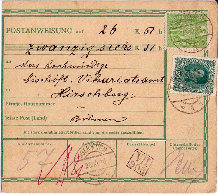 Větší část poštovní poukázky s předběžnými čs. poštovními známkami a s prvním razítkem pošty Vidim z 25. listopadu 1918 do Doks (na zadní straně příchozí razítko).