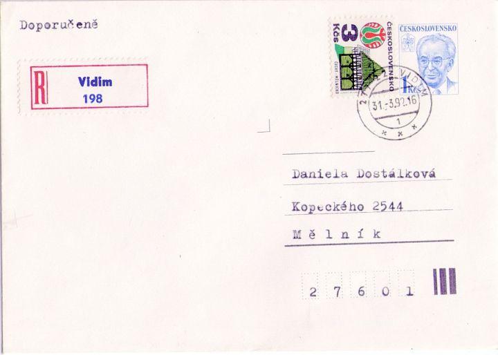 Doporučený dopis s čs. poštovním razítkem (PSČ) z 31. března 1992 do Mělníka (den uzavření pošty)
