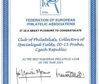 Ocenění FEPA – nejlepší evropský filatelistický klub roku 2014