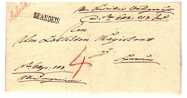 Skládaný úřední dopis z Mělníka do Berouna z 22. února 1824, s prvním poštovním razítkem